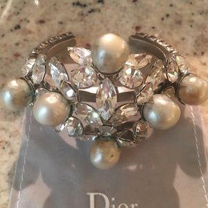 dior vintage Jewelry - Rare 1985 Austrian pearl crystal statement cuff